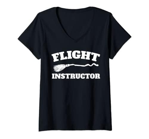 Mujer Instructor de vuelo instructor de vuelo divertido bruja Camiseta Cuello V