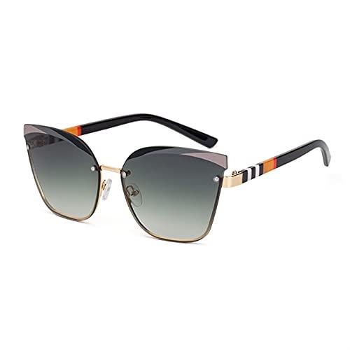 XIAOLING 2021Cat Gafas de Sol de Lujo de Rayas sin Marco de Ojos para Hombres Hombres de Moda UV400 Vasos Vintage (Color : 1, Size : Height: 51mm)