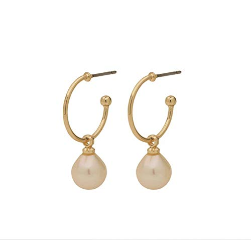 Pilgrim Pendientes de aro con perlas, chapados en oro