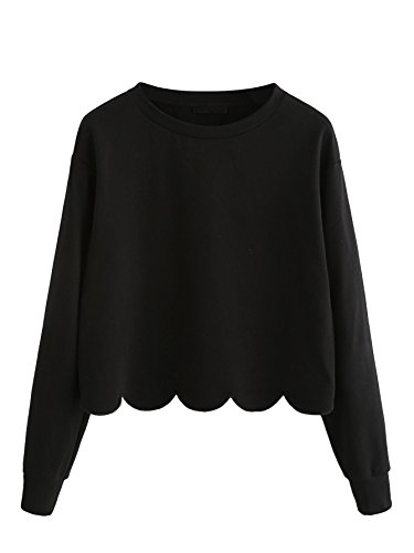 Romwe Women's Casual Long Sleeve Scalloped Hem Crop Tops Sweatshirt Black M