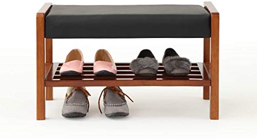 Scarpe da scarpe Cambia Sgabello da scarpa Sgabello massiccio in legno massello Doppia scatola di scarpe Scatola di stoccaggio Bench Bench Benco da scarpe Da Divano Sgabello Test Scarpa Cabina armadio