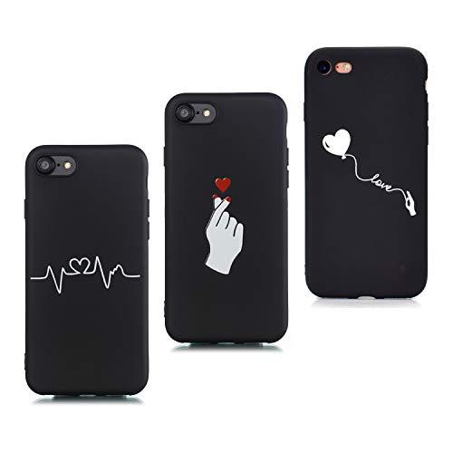 HopMore 3X Compatibile con Cover iPhone 7 / iPhone 8 Silicone Nero Morbide Amore Design Bella Custodia Antiurto Gomma Accessori Telefoni Case TPU Morbido - Battito Cardiaco B
