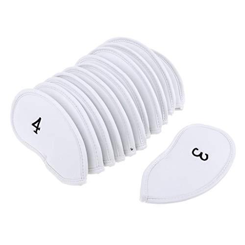 B Baosity 12 teilig Kunstleder Golf Schlägerhaube Set Putterhaube Schlägerkopfhüllen Eisenkopfhüllen Kopfbedeckung - Weiß