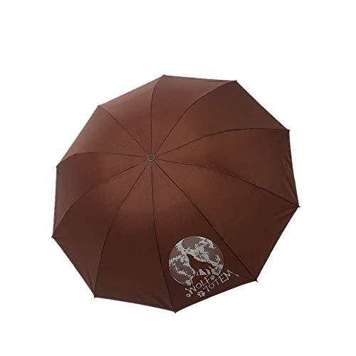 YNHNI Paraguas plegable con protección solar reforzada de diez huesos, protección contra rayos UV, lluvia y lluvia, portátil (color café)