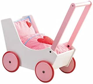 HABA Doll Pram Hearts - Wooden Doll Buggy with Bedding (Made in Germany)