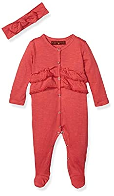 7 For All Mankind Baby Girls Footie, Solid Garnet Rose, 3-6 Months