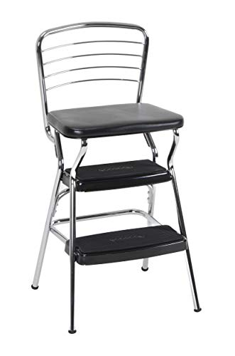 COSCO 11140CBB1E Stylaire Chair and Step Stool, Black