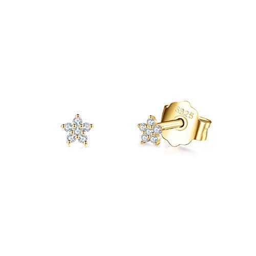 14K Gold Plated Stud Earrings for Women Girls, Tiny Flower Stud Earrings Small 925 Sterling Silver Hypoallergenic Cubic Zirconia Helix Cartilage Earrings Piercing Sleeper Studs, 3mm