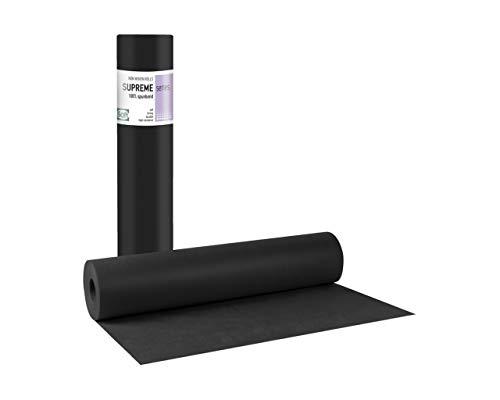 Tegcare Rouleau de chemin de table non tissé - 58 cm x 70 m - Noir - 800 g