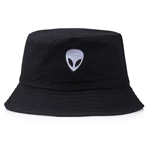 Manda Stell Alien Bucket Hat Unisex Bob Caps Hip Hop Gorros Herren Damen Sommer Panama Cap Einheitsgröße Schwarz