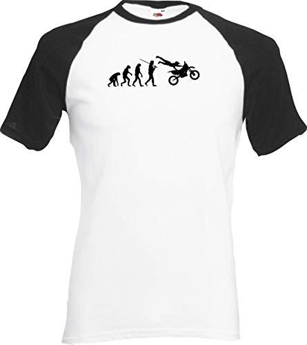 Shirtinstyle Raglan Chemise Evolution Motorrcross Saut Crossen Moto Divers Couleurs, S-XXL - Blanc-Noir, XXL
