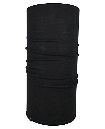Hilltop 100% Wolle (Merinowole) - Halstuch, Multifunktionstuch, Schlauchtuch, Bandana, Schal, Motorrad Tuch, Farbe/Design:Schwarz Wolle (Merinowolle)