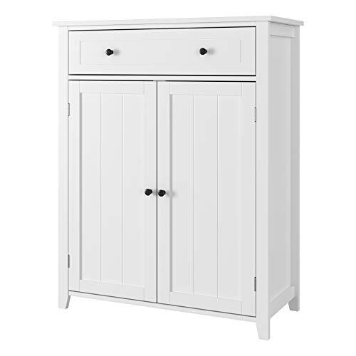 Mueble Almacenaje Armario Baño Mueble Auxiliar Madera para Salón Dormitorio Comedor con 2 Puertas 1 Cajón Blanco 80x35x100cm