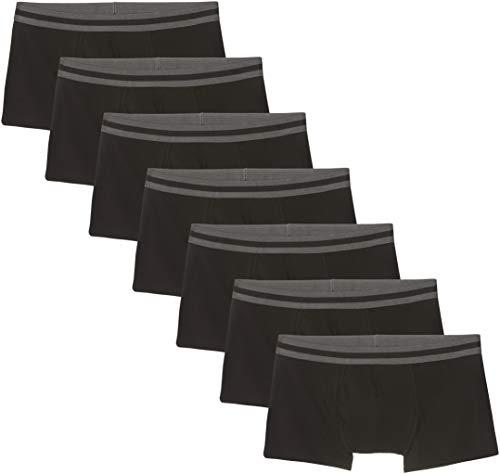 Amazon-Marke: find. Herren Niedrige Shorts aus Baumwolle, 7er-Pack, Schwarz (Black), L, Label: L