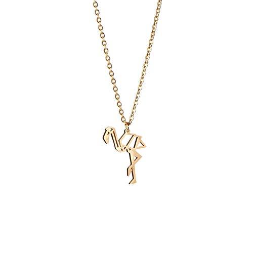 La Menagerie Flamingo Oro, Joya de Origami & Collar geométrico Oro Mujer - Collar bañado en Oro 18 Quilates con diseño Animal Flamingo - Joyería para niñas y Mujeres