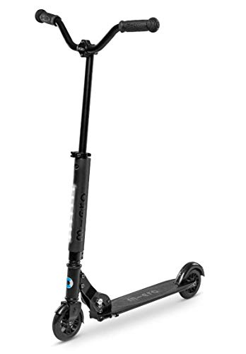 Micro Kickboard - Sprite Deluxe - Two Wheeled, Fold-to-Carry Swiss-Designed Micro Scooter for Kids & Adults with Tubelight & Chopper-Style Handlebars for Ages 8+ (Black)