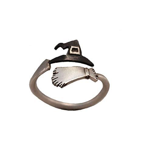LAANCOO Sombrero de Bruja de Halloween Broom Anillo Abierto Anillo Ajustable Simple Anillo de la Venda Frescos creativos de Cosplay del Partido de la joyería del Anillo de la Mujer