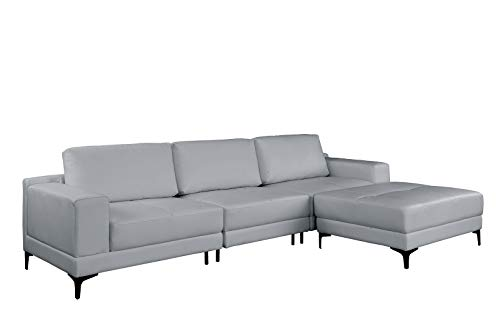 Modern Leather Sectional Sofa 114.9' inch, Living Room L-Shape Couch (Grey)