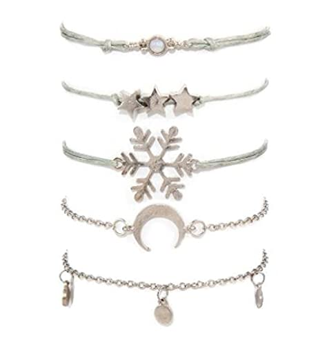 NIUBKLAS Tobillera Pulsera Bohemia Snow Moon Star Charm Bracelet Set Mujer Gris Chica Pulsera de Cuerda de Cristal Ajustable-Plata