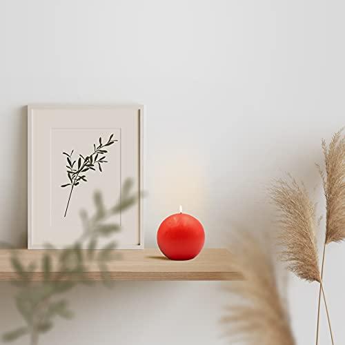 Bonamaison, Round Candle, Paraffin Wax, Red, 8 cm