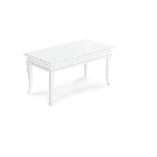 Estea Mobili - TAVOLO BIANCO OPACO BACHECA PIANO IN LEGNO 100 X 50 X TAVOLINO BASSO X SALOTTO - 1015