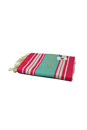 Katoenen strandhanddoek met jacquard strepen met franjes aan de onderkant, (maat 100x200 cm). Het is tijd om je tassen in te pakken en onderweg kun je de katoenen strandhanddoek niet missen met jacquardstrepen met franjes aan de onderkant en een contrasterend logo. Voor een vleugje kleur op het strand en in het zwembad. pz