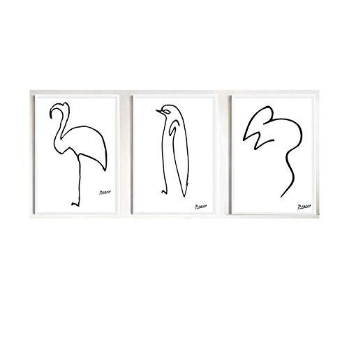N / A Picasso Leinwand Wand Bilder Schwarz Weiß Leinwand Bild Minimalistische Linie GemäLde Poster Kunstdruck Nordic Wandbild FüR Wohnzimmer Home Deko 40x60cmx3 No Frame