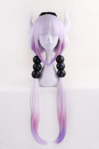 Anime Cosplay Wig Long Purple White Mixed Gradient Hair Synthetic Wigs+6 Balls+Horn+Tail