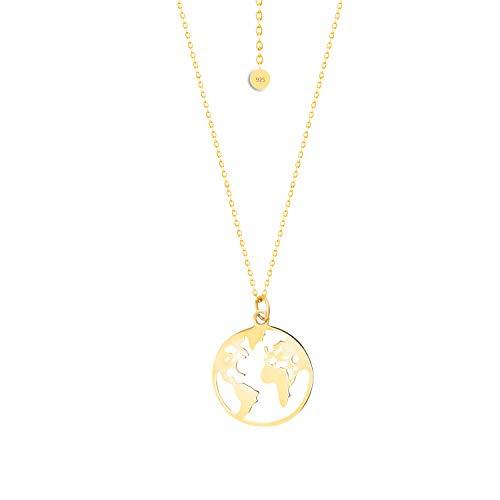 FREIWEIT Weltkugel Kette für Frauen in Gold- 925 Sterling Silber- 18 Karat Goldlegierung mit Schmuck Säckchen - Stilvolle Welt Kette - 40cm + 5cm - Damen Halskette (Gold, Silber 925)