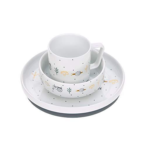 LÄSSIG Geschirrset Porzellan Kindergeschirrset Teller Schüssel Tasse mit Silikonring rutschfest Kindergeschirr/ Garden Explorer boys