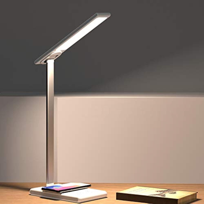 FXMJ 3 Farbmodi Touchbedienung LED Schreibtischlampe, Speicher Stufenloses Dimmen Faltbar Leselampe, Büro Augenschutz Leselicht Tischlampe,withUSBPort