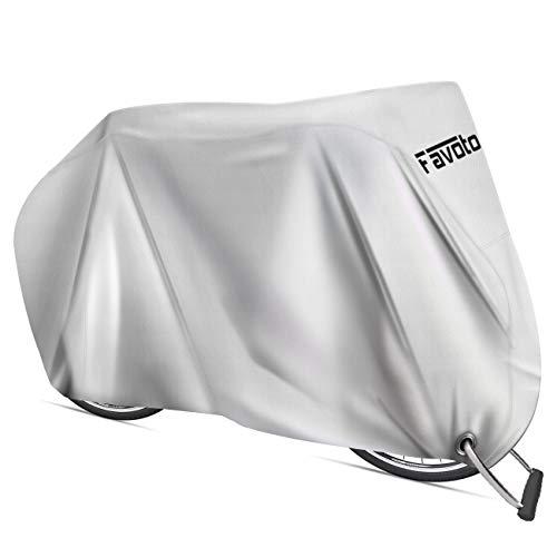 Favoto Funda para Bicicleta Exterior, 210D Oxford Cubierta Protector Impermeable al Aire Libre contra Lluvia/UV/Polvo/Nieve con Orificio de Bloqueo para Montaña Carretera, 200x70x110cm Plata