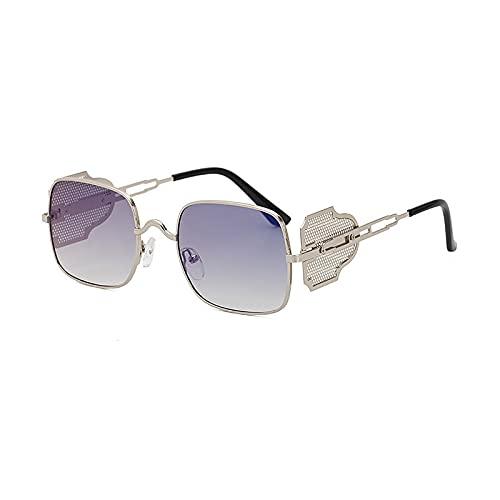 JIYANANDPNTYJ Gafas De Sol Mujer Gafas de Sol de Metal Retro Forma Cuadrada Elegante (Lenses Color : Blue Reflective)