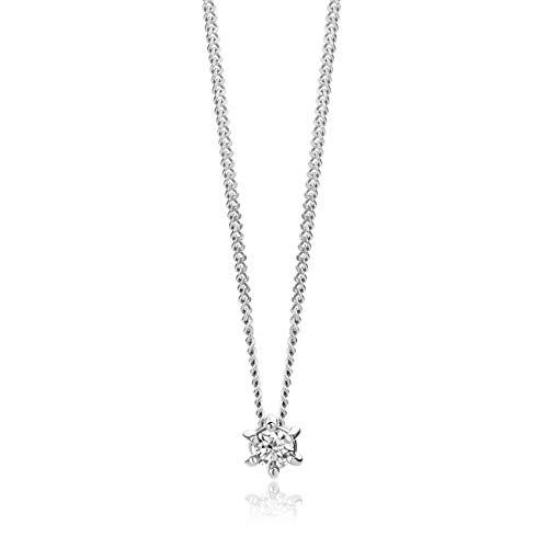 Orovi Collar para mujer de oro blanco con colgante de diamante solitario de oro de 9 quilates (375) y diamantes brillantes de 0,07 quilates, 45 cm de largo, hecho a mano en Italia