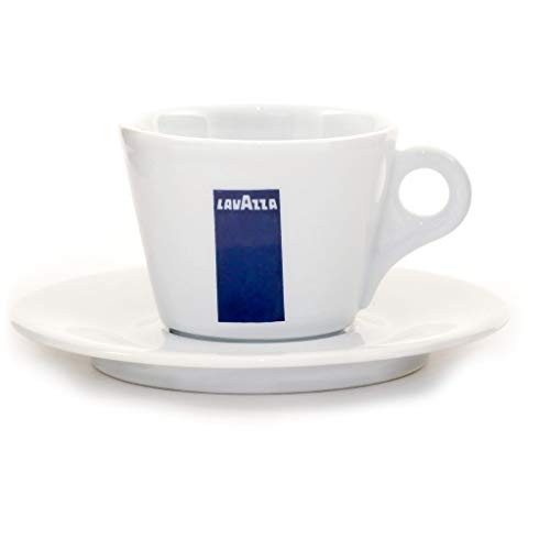 Lavazza Cappuccino-Kaffeetasse und Untertasse, Porzellan, 14 ml, Weiß/Blau, Nur Tasse, weiß/blau, 156 cm