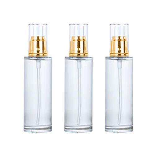 Hemoton 3 pcs Vide Pompe cosmétique Bouteille Bouteilles Bouteille d'huile Essentielle Bouteille Vide Bouteilles Portable Pompe Bouteille (Or et Blanc 80 ML)