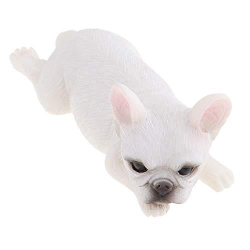 joyMerit Lifelike Resin French Bulldog Figurine Animal Model Home Decor Collectibles - White Forward Lunging