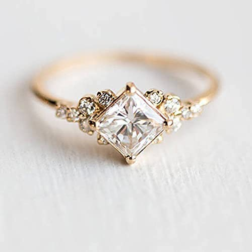 Gixaxak Vintage Gold CZ Ring 14k Gold Plated Engagement Ring Diamond Wedding Ring Band for Women (10)