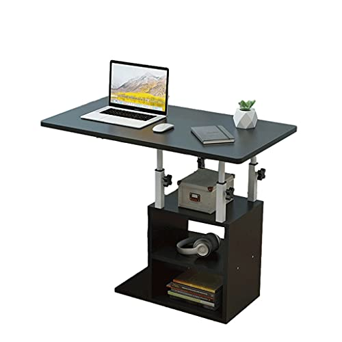 LRBBH Mesa auxiliar en forma de C con estantes laterales en altura ajustables mesas de almacenamiento para espacios pequeños sofá móvil 80 x 40 cm bandeja de comida escritorio