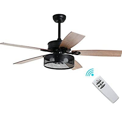 "Industrial Cage Ceiling Fan Light with Remote Control, Rustic Dimmable LED Fandelier with 5 Wood Blades, 52"" Matte Black Chandelier Fan"