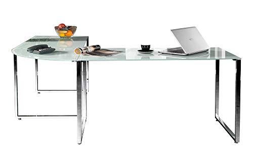 Eckschreibtisch Weiss Glas Schreibtisch Glasschreibtisch Office Design Büro Möbel Tisch Glas Chrom