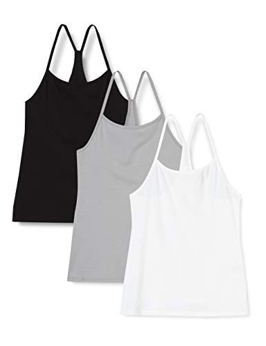 Iris & Lilly Damen Unterhemd aus Baumwolle, 3er-Pack, Mehrfarbig (Schwarz/Weiß/Grau), M, Label: M