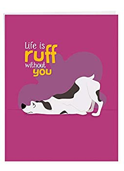 NobleWorks Doggone Awesome Notes - Big Miss You Greeting Card  8.5 x 11 Inch  - Cute Pet Dog Animal Miss You Notecard From All of Us J6586CMYG-US