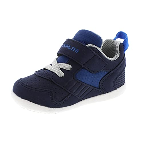 TSUKIHOSHI 2510 Racer Strap-Closure Machine-Washable Baby Sneaker Shoe with Wide Toe Box and Slip-Resistant, Non-Marking Outsole - Navy/Blue, 6.5 Toddler (1-4 Years)