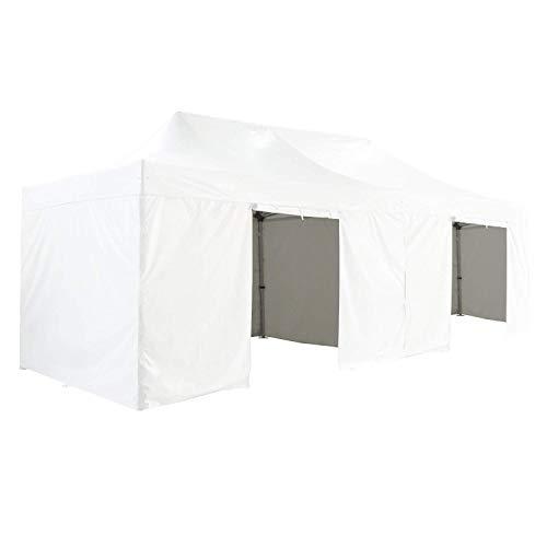 GREADEN Gazebo Pieghevole 4x 8m 50mm in Alluminio Premium PRO 520g/m2con Pack 4pareti Rimovibili–Bianca–Tenda Pieghevole–gr-1fcm48520p1