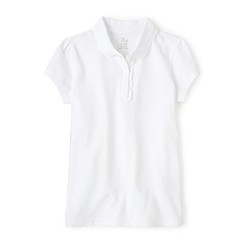 The Children's Place Big Girls' Uniform Short Sleeve Polo, White-Ruffle 44391, Large/10/12