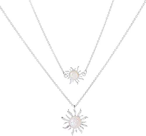 SHIERSHIYI Necklace Fashion Sunflower Two Layers Necklace Sun Opal Pendant Choker Necklaces for Women Girls Wedding Gifts Jewelry