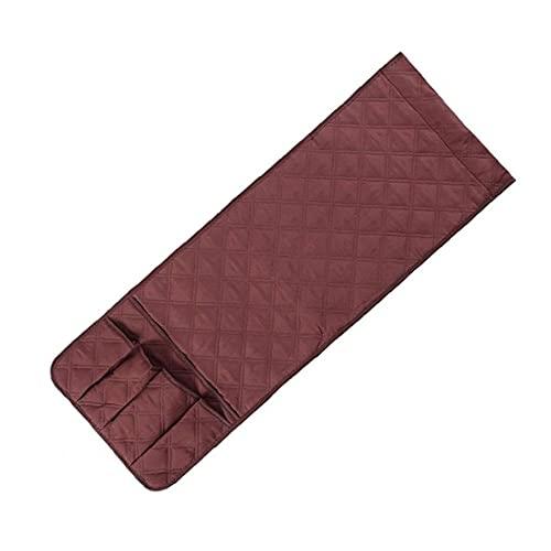 NIDONE Soporte para reposabrazos, organizador de reposabrazos, bolsa de almacenamiento con 5 bolsillos para teléfono, libro de TV, mando a distancia, 89 x 33 cm, color marrón
