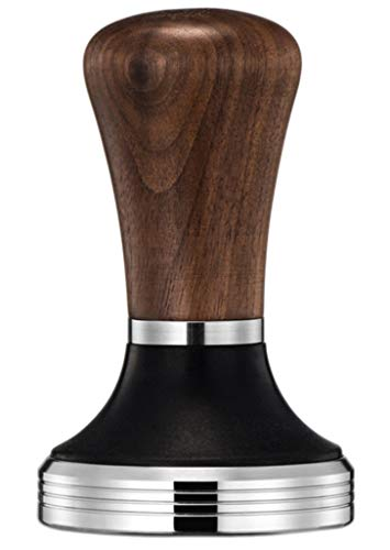 Diguo Elegance Wooden Coffee Tamper. Flat Espresso Tamper for 53mm Portafilter. Stainless Steel Flat with Height Adjustable Wooden Handle. Barista Espresso Tamper (53mm Tamper)