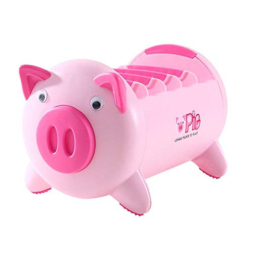 WEIMAY Office Desk Organizer Desktop Stationery Storage Box Collection Pen Pencil Mobile Phone Remote Control Holder Desk Supplies Organizer - Creative Pigs Plastic with 4 Adjustable Spaces